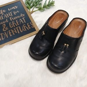 Ariat Mendocino Black Leather Tassel Mules Clog
